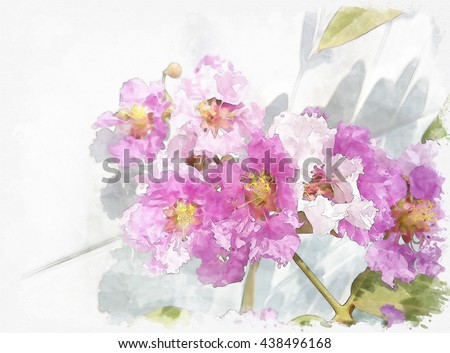 water color flower on sand stone texture paper. - stock photo