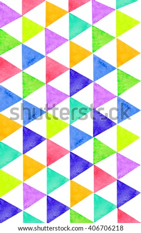 Water color illustration of triangle geometry graphic pattern background