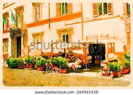 water color illustration restaurant rome street  - stock photo