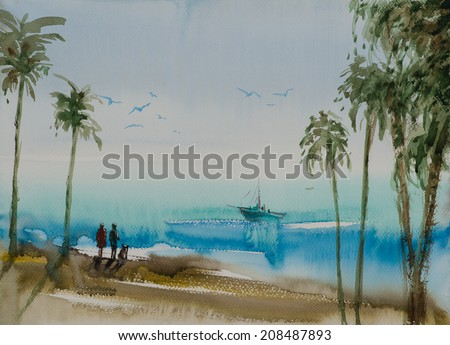 Water color painted beach with palm trees, people and a yacht