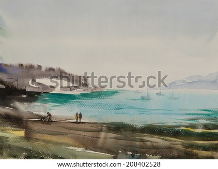 Water color painted beach with two people enjoying the morning