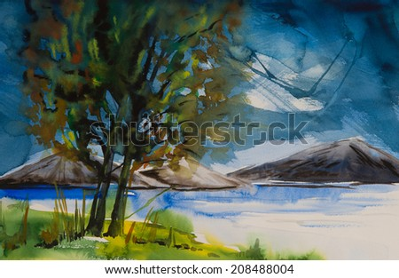 Water color painted nature with mountains across the big lake and a tree standing beside it