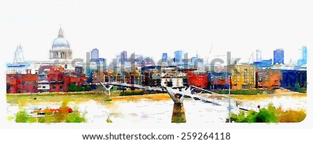 water color painting london saint paul cathedral and millennium bridge  - stock photo