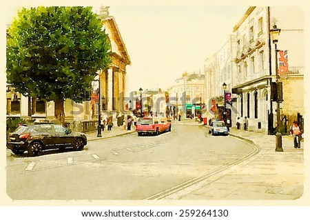 water color painting london streets - stock photo