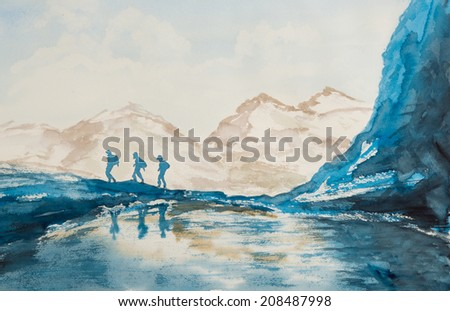 Water color painting with people walking on mountains at winter