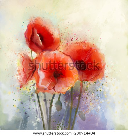 Water color red poppy flowers painting. Flowers in soft color and blur style for background. Vintage painting flowers - stock photo