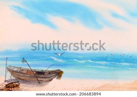 water color sea, boat landscape - stock photo