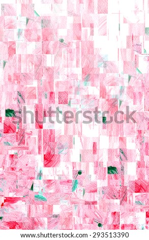 water color strokes painting by kid on white background with wave filter effect in red color.  - stock photo