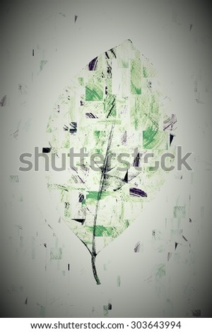 water color strokes painting in technical cut and paste is formed leaves,And a dark edge. - stock photo
