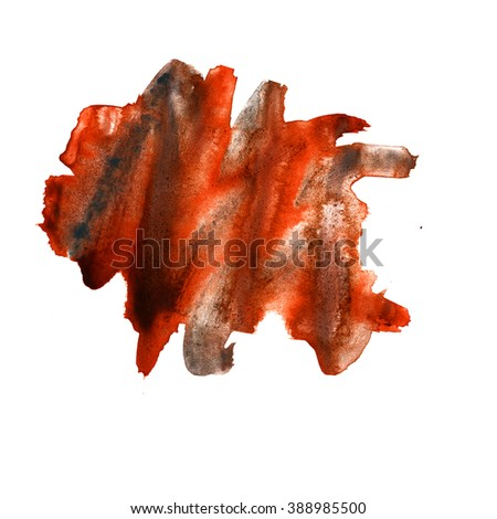 water  color watercolor texture splash red brown blotch watercolour isolated on white background