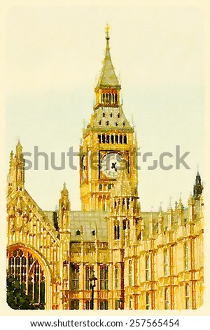 water color west minister london - stock photo