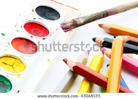 water-colors,paintbrush and color pencils on white backgroun - stock photo