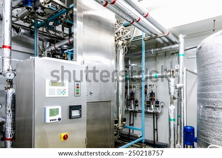 Water conditioning or distillation room and control panel equipment on pharmaceutical industry or chemical plant