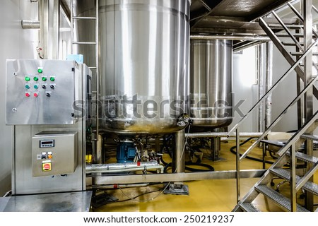 Water conditioning or distillation room with control panel equipment and water boiler or tank on pharmaceutical industry or chemical plant