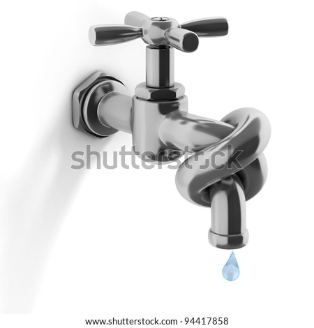 water crisis 3d concept - tap tied in a knot - stock photo