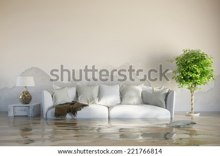 Water damage in house after flooding with stains on the wall - stock photo