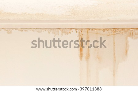 Water damaged ceiling and wall, white becomming brown