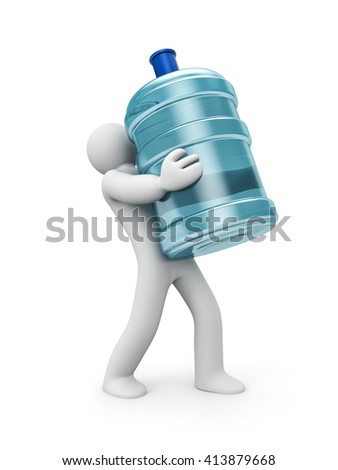 Water delivery. 3d person carrying a water bottle. 3d illustration - stock photo