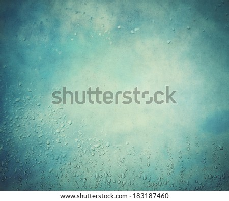 water drop and vintage sky background - stock photo