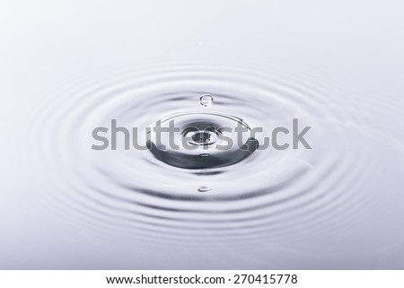 water drop and water reflection on white background - stock photo