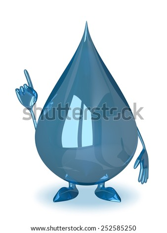 Water drop character in moment of insight or making warning gesture - stock photo