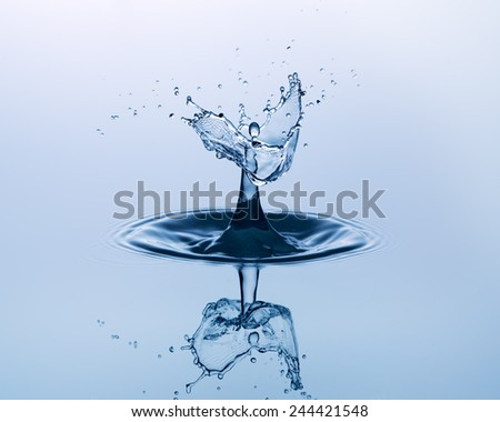 Water drop close up. Water sculpture. - stock photo