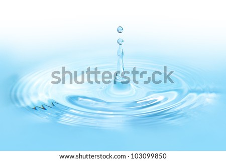 Water drop close up with blue tune - stock photo