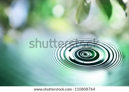 Water drop close up, with defocus summer background - stock photo