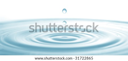 water drop down with the isolated background - stock photo