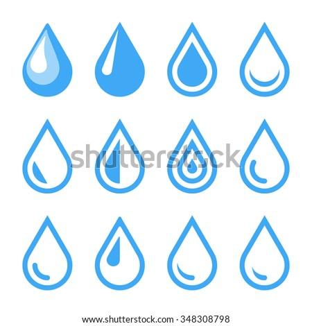 Water Drop Emblem. Logo Template. Icon Set - stock photo