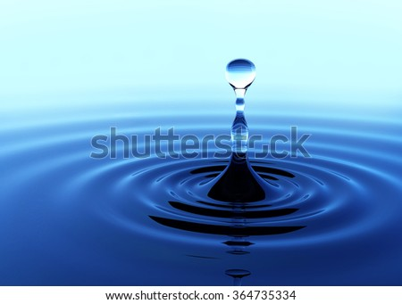 Water drop fell on the water surface