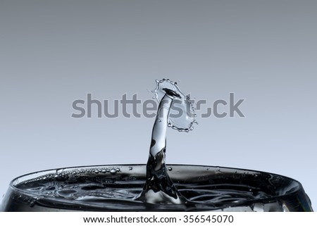 water drop forming unusual shapes - stock photo