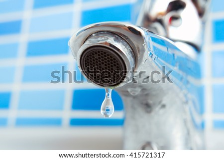 Water drop from faucet