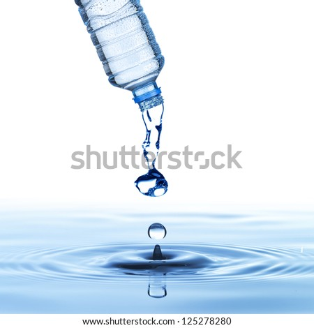 water drop from water bottle to from water droplet - stock photo