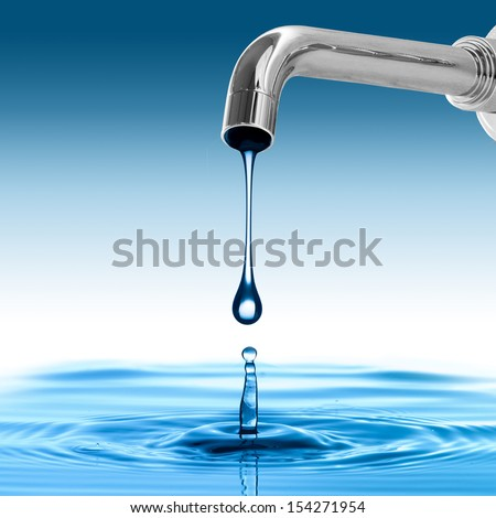 water drop from water tap. Concept for environmental conservation
