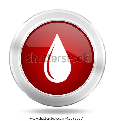 water drop icon, red round metallic glossy button, web and mobile app design illustration - stock photo