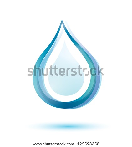 water drop isolated symbol. raster version - stock photo