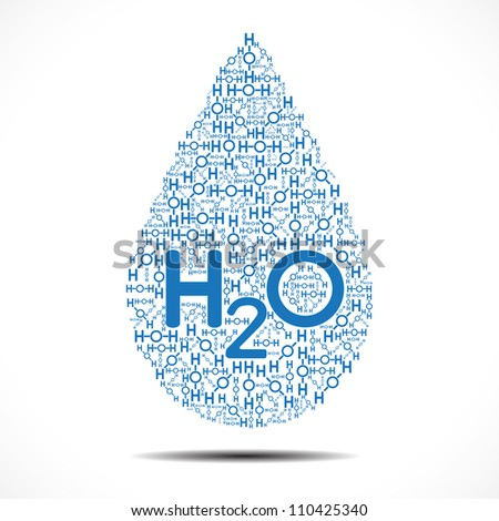 Water drop made out of Oxygen and Hydrogen Ions on white background. - stock photo
