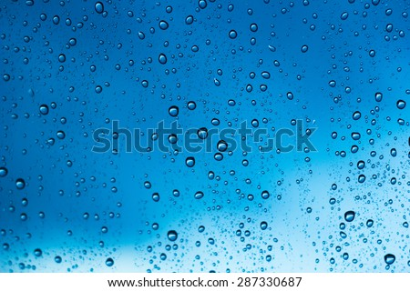 water drop on blue glass