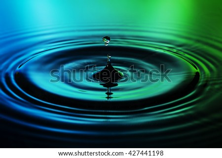 Water drop on blue green background
