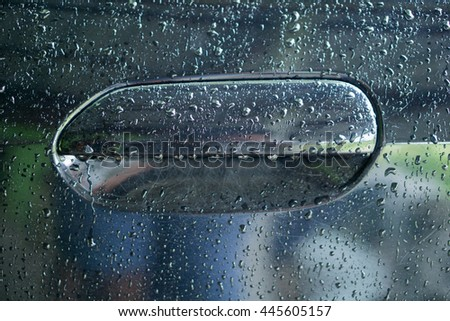Water drop on Door handle car, Car door handle.Black shining car, closeup photo of driver door handle with raindrops. Selective focus and shallow DOF