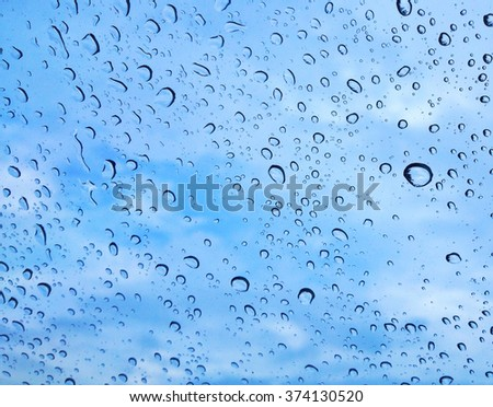 water drop on glass in background with blue sky