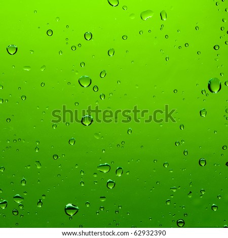 Water drop on green color background