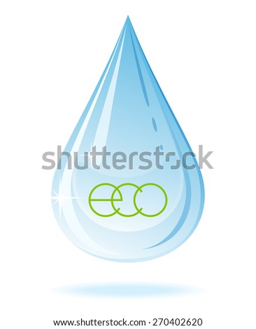 Water drop on white background. Raster version. - stock photo