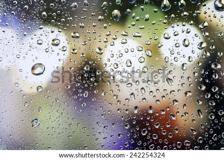 water drop, rain drop on glass with a beautiful background