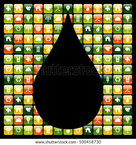 Water drop shape over eco friendly icon app buttons.