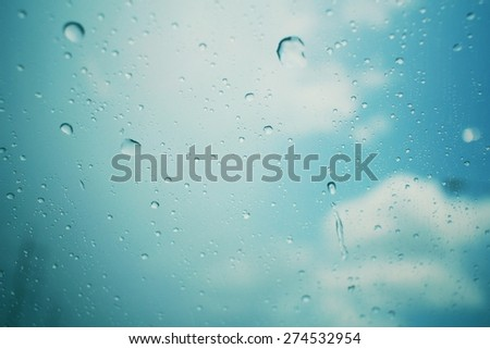 Water drop with sky  - stock photo