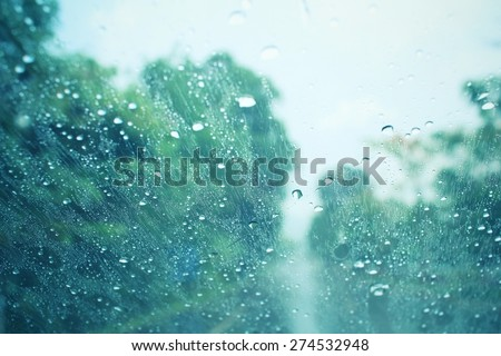 Water drop with sky and tree - stock photo