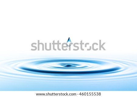 Water drop with waves isolated on white - stock photo