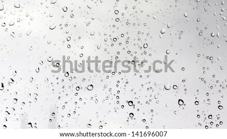 Water droplets on glass against white background